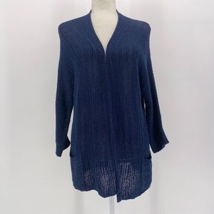 Chico's Navy Blue Knit Cardigan Sweater